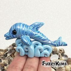 Polymer Clay Dolphin - Character Figurine Sculpture - Cute Collectible Whimsical FuzzyKims - Kimmie's Clay Kreations