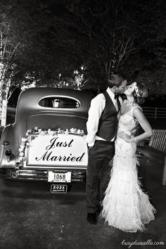 Just Married! @ Nottoway Plantation! Great Gatsby Wedding, Art Deco, Getaway Car, Vintage Wedding, Maggie Sottero