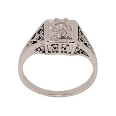 Rhodium Plated Dainty Cubic Zirconia Ring in Antique Style Setting that Looks Totally Real Size 9 Glamour Rings http://www.amazon.com/dp/B0053ZN0UE/ref=cm_sw_r_pi_dp_qoZJtb0VKMF0E7N1