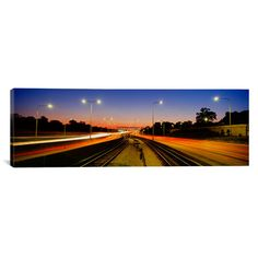 """East Urban Home Panoramic Mass Transit Tracks in Kennedy Expressway, Chicago, Illinois Photographic Print on Canvas Size: 12"""" H x 36"""" W x 1.5"""" D"""