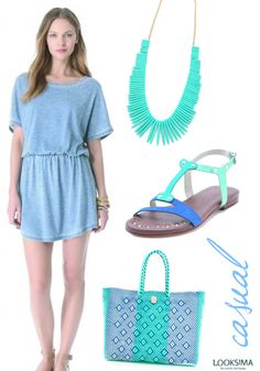 Blue for the sea...blue for the sky! Try this lovely, cozy blue dress with these comfortable sandals, a gorgeous plastic woven tote and a statement necklace like this, which is one of my favorite pieces for the summer.