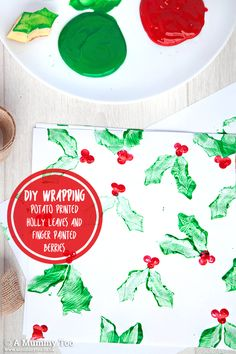 Make potato-print and finger print Christmas wrapping paper with the kids.