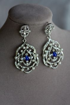 Art Deco Bridal Earrings , Vintage Bridal Earrings, Wedding Jewelry, Pearl earrings,Crystal Drop Earrings, Saphire Blue , Montana Blue on Etsy, $52.00