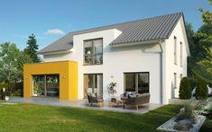 Das Haus Colmar macht es spannend. Von jeder Seite aus betrachtet, präsentiert es faszinierende Formen und Linien. Manche davon fließen elegant in einander über, andere stechen extravagant aber immer sympathisch hervor. Der architektonisch anspruchsvolle Kubus bietet noch mehr Platz zum Leben und Wohlfühlen. Ein Haus für Dich – mit Ecken und Kanten! Style At Home, Dere, Interior Architecture, Shed, Outdoor Structures, Mansions, House Styles, Bungalow, Alicante