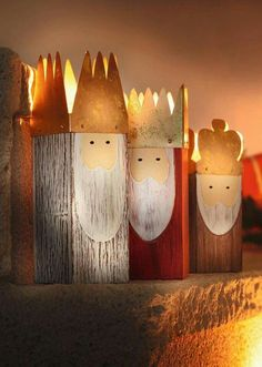 3 wise men votive holders