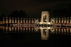The National World War Two Memorial in Washington DC comprises 56 pillars and two arches around a fountain.