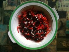 Carrot, Beetroot & Sesame Seed Salad - improvised from an autumn Abel & Cole veg box