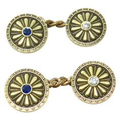 Art Deco Gold Diamond Sapphire Cufflinks | From a unique collection of vintage cufflinks at http://www.1stdibs.com/jewelry/cufflinks/cufflinks/