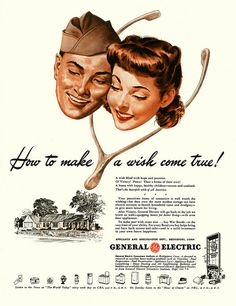 Your Peacetime Home of Tomorrow ~ The post WWII era spawned the birth of the suburban tract dream home which lead to the Baby Boom...1940s ad for General Electric.