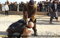 Brutal: The unknown man was photographed being killed by a masked executioner in a village just outside ISIS' stronghold and de facto capital Raqqa while a large crowd looked on