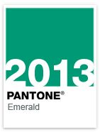 "Emerald, the Pantone Color of the Year for 2013.   Selected for its timeless elegance, Pantone calls it ""Lively. Radiant. Lush. A color of elegance and beauty that enhances our sense of well being, balance and harmony."""