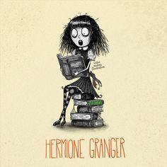 Tim Burton style Harry Potter characters: Hermoine Granger