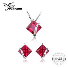 JewelryPalace Classic Square 6.1ct Created Ruby Stud Earrings Pendant Necklace 925 Sterling Silver Fine Jewelry For Women