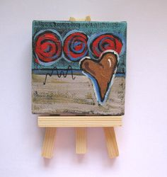 Mini Canvas Abstract Heart Painting miniatuare by BrookeHowie, $25.00