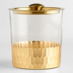 Gold Metal and Glass Ice Bucket with Lid | World Market
