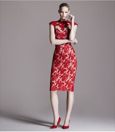 Cocktail Dresses: Marchesa  Bergdorf Goodman- love the lace. love the red.