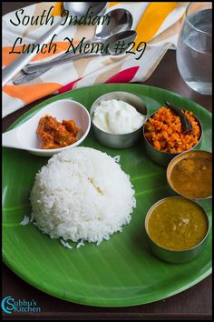 SouthIndian Lunch Menu - Keerai Kuzhambu, Garlic Rasam, Carrot Poriyal,Rice, Curd and Pickle - Subbus Kitchen Indian Food Menu, Lunch Recipes Indian, South Indian Food, Vegetarian Cooking, Vegetarian Recipes, Cooking Recipes, Lunch Menu, Lunch Box, Sambhar Recipe