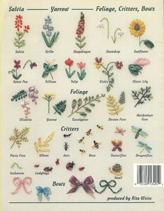 An Encyclopedia of Ribbon Embroidery Flowers, 121 Designs  Deanna Hall West  American School of Needlework; 1995  61 pages, minimal cover and