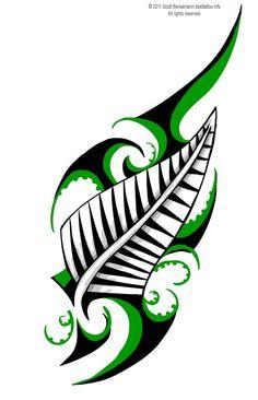 tribal designs | Maori tribal design New Zealand Silver fern colour tattoo flash
