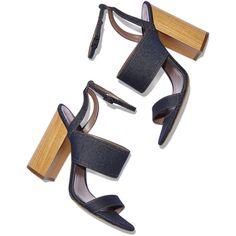 Tabitha Simmons Denim Sandal Goop ❤ liked on Polyvore featuring shoes, sandals, heels, ankle wrap sandals, denim shoes, ankle tie shoes, ankle strap shoes and wooden heel sandals
