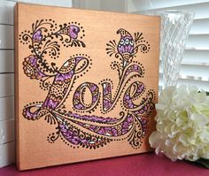 LOVE  Henna Inspired  Original OOAK  10x10 Canvas door LiaDiaDesigns, $85.00