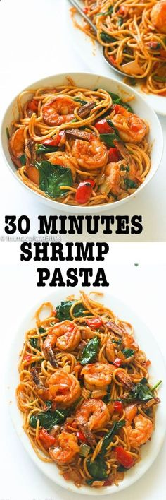 Spicy shrimp tomato spinach pasta- An Easy 30 minute weeknight spaghetti dinner that delivers a huge punch of flavor with no cream and just a handful of ingredients: recipes shrimp Spinach Pasta Recipes, Shrimp Recipes, Fish Recipes, Spicy Shrimp, Shrimp Pasta, Shrimp Meals, Cooked Shrimp, Shrimp Dishes, December