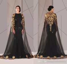 Hot Sale 2016 Arabic Formal Pageant Evening Dresses With Cloak Gold Lace  Plus Size Black Sequined Vestidos De Novia Prom Occasion Gown Cheap Long  Dresses Uk ... fab2611230cb