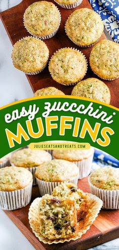You'll never run out of zucchini recipes to make this summer! Zucchini Muffins are breakfast muffins that are moist, sweet, and packed with flavor. It is the perfect school lunch or snack idea too… Zucchini Side Dishes, Easy Zucchini Recipes, Quick Bread Recipes, Healthy Zucchini, Yummy Recipes, Brunch Recipes, Breakfast Recipes, Rhubarb Coffee Cakes, Zucchini Muffins