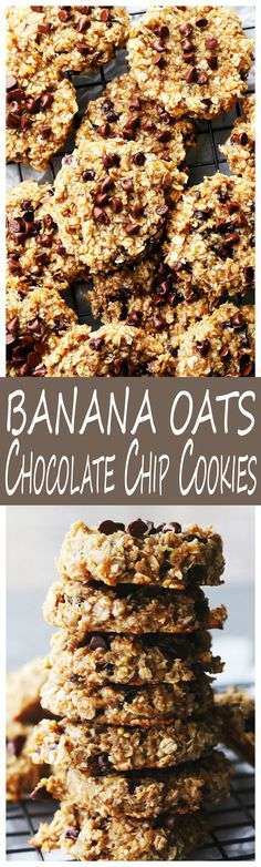 Banana Oats Chocolate Chip Cookies: Delicious, healthy cookies made with just 4 ingredients; bananas, oats, honey and chocolate chips. Vegan, Gluten Free, and Paleo!