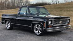 Auction Lot Indianapolis, IN 350 CI engine. Black with Brown interior Chevy Pickup Trucks, Classic Chevy Trucks, Chevy Pickups, Chevrolet Trucks, Chevrolet Silverado, Custom Pickup Trucks, C10 Trucks, Single Cab Trucks, Lowered Trucks