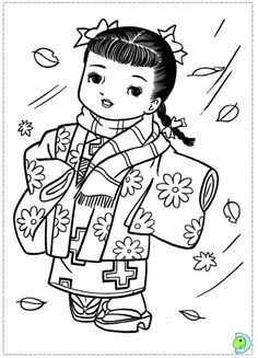 Japanese Girl Geisha Coloring Page  DIGI STAMPS  Pinterest