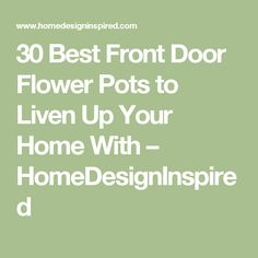 30 Best Front Door Flower Pots to Liven Up Your Home With – HomeDesignInspired