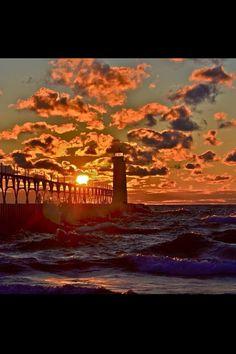 North Pierhead Lighthouse at sunset in Manistee, MI
