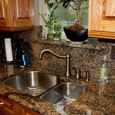 love this idea of using granite for the backsplash and window!