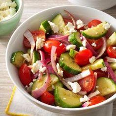 Italian Tomato Cucumber Salad Recipe: How to Make It | Taste of Home Easy Cucumber Salad, Cucumber Recipes, Healthy Salad Recipes, Vegetarian Recipes, Cooking Recipes, Easy Recipes, Cucumber Appetizers, Vegetarian Salad, Sante Bio