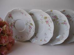 Vintage Limoges Ahrenfeldt Pink Floral Saucers Set by jenscloset #ssps