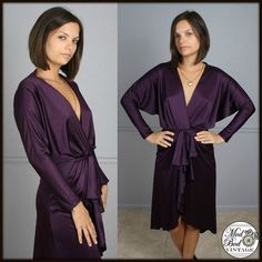 Vtg 70s Disco Deep V Neck Dolman Sleeve Ruffle Fishtail Purple Dress S