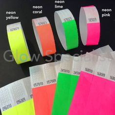 Your event has the perfect ticket with our Tyvek wristbands. wide, with a convenient adhesive strip, tear-resistant and water-resistant and provided with consecutive numbering. In neon yellow highlighting to blacklight. 18th Party Ideas, 15th Birthday Party Ideas, Neon Birthday, 14th Birthday, Sweet 16 Birthday, Glow In Dark Party, Glow Party, Disco Party, Neon Sweet 16