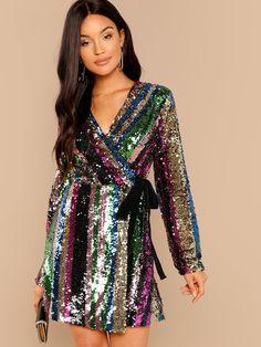 8ad7de5baa Shop Color Block Sequin Wrap Dress online. SheIn offers Color Block Sequin  Wrap Dress &