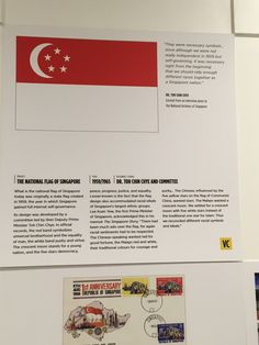 """Our national flag was adopted in 1959, the year Singapore became self-governing within the British Empire. And was later reconfirmed as the national flag when we gained independence in August 9, 1965. The flag is now our identity. The red symbolises """"universal brotherhood and equality of man"""". The white, """"pervading and everlasting purity and virtue"""". The waxing crescent moon """"represents a young nation on the ascendant"""". The five stars """"stand for the nation's ideals of democracy, peace…"""