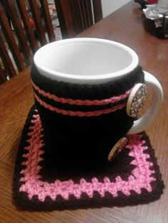 Crochet coffee cozy and coaster by KnotSoWiney on Etsy