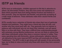 ISTP as friends. This is me perfectly. I love hanging out with extroverts but I get tired of them easily.