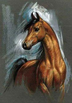 33 Horse Drawing Ideas With Crayon - Art Horse Drawings, Animal Drawings, Art Drawings, Pretty Horses, Beautiful Horses, Arte Equina, Horse Artwork, Horse Portrait, Pencil Portrait