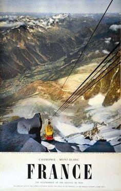 Chamonix - Téléphérique Aiguille du Midi 1956Draeger ParisAffiche Entoilée. B.E. B +99 x 62 cm - Art Richelieu - 21/03/2015