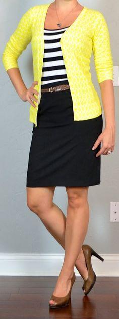 Stripes + yellow + pencil skirt