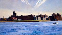 Reproduction de Hopper, L'ile de Blackwell (Blackwell island). Tableau peint à la main dans nos ateliers. Peinture à l'huile sur toile.