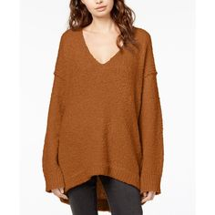 Free People Lofty Boucle-Knit Sweater ($64) ❤ liked on Polyvore featuring tops, sweaters, terracotta, slouchy tops, knit sweater, slouch sweater, slouchy knit sweater and free people sweater
