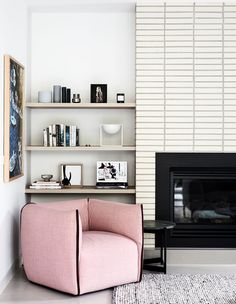 First day of Summer and I think it's a good day to test out the new fireplace and get cosy on my Mia armchair Interior design and styling 🙋🏼♀️ Home design and build 📷 Palette, Mad About The House, Australian Homes, Australian Architecture, Architecture Design, Brick Fireplace, Inspired Homes, Decoration, Building Design