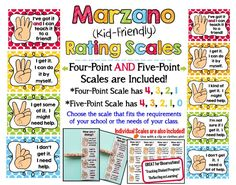 Marzano Kid-Friendly Scales! Your choice of 4-point or 5-point scale (Both Included!! - Just print the one you want to use). Also includes individual Student Scales!!!