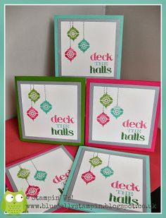 Wild Wasabi, Melon Mambo and Coastal Cabana.  I've inked up the sentiment from Christmas Messages with Markers and stamped onto Shimmery White Card. The baubles are stamped from Very Merry Tags and used the Paper Piercing Tool and Stampin' Pierce Mat to create holes and then filled the gaps with a Smokey Slate Marker to give the appearance of stitching.